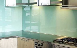 colored glass backsplash
