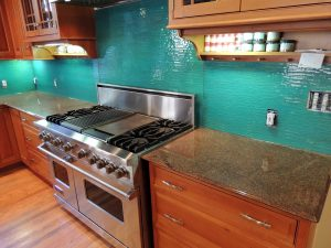 colored glass kitchen back splash