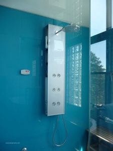 colored glass shower walls